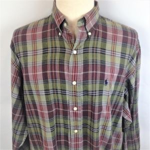Ralph Lauren Mens Multicolor Plaid Cotton Shirt XL